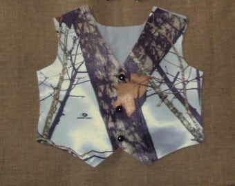 Boys and Men Vest (MossyOak White satin shown in pic) #4 in fabric selection. 22 camo colors