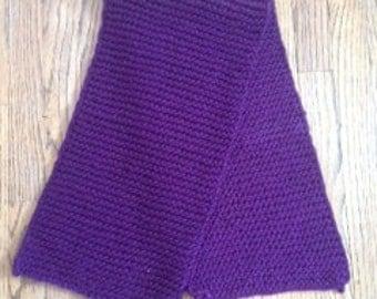 Purple Hand Knit Scarf
