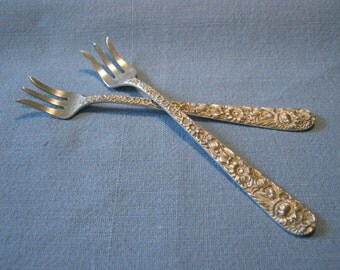 S Kirk & Son Sterling Repousse Seafood Forks