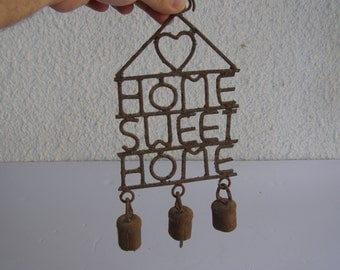Home Sweet Home Vintage style wall Hanging Rusty Bells