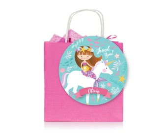 Mermaid & Unicorn Favor Tag - Gift Tag, Hang Tags, Thank You Tags, Girl's Mermaid Unicorn Party - Mermaid Riding a Unicorn