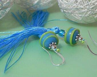 BlueTassel Earrings Long Tassel Earrings Long Fringe Earrings Tassle Earrings Statement Earrings Tassel Jewelry Lampwork Earrings Colorful