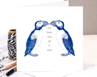 Puffin Love Card; Valentines Card; I Love You; Love Birds; Card For Boyfriend GC026