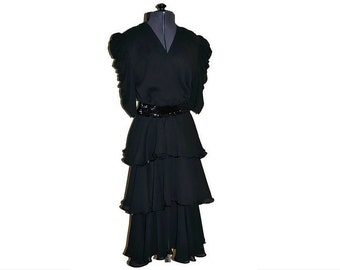 Black Dress Vintage Kristina // 1980's Ruffled Dress with Sequins // Power Dressing