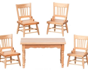 Dollhouse Miniatures 1:12 Scale 5 Pc Oak Table and Chairs Set #M0537-M0537A-M0537B-M0537C