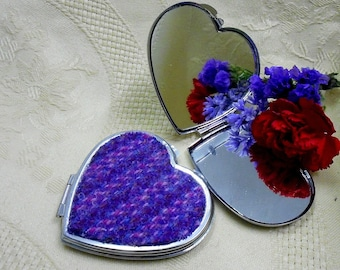 Harris Tweed handbag mirror purple pink compact womens gift Mothers day accessories Scottish gift blue silver heart made in Scotland UK