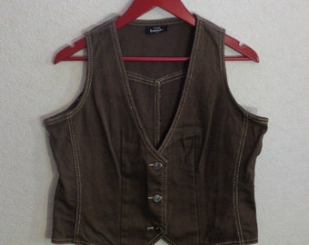 Womens Vest Extra Large Size metal buttons Comfortable Waistcoat