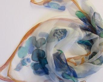 Hand painted 100% silk scarf 35 x 35 inc. Batik scarf. Silk scarf.  Ручная роспись. Батик. Натуральный шелк