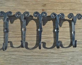set of 5 hand wrought iron primitive rams head hooks folk wall door hook RHH1