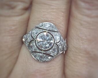 Art Deco Old European Cut Diamond Multi-stone Engagement Ring In Platinum, Total Carat Weight 1.75