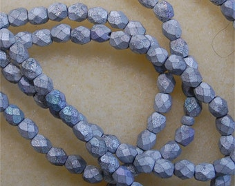 FIRE POLISH BEADS, 4mm, Glittery Matte Silver, sold in units of approx 80 beads.