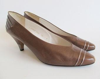 80s • Vintage • Pumps • Leather Pumps • High Heels • Leather High Heels • Women's Shoes • Brown Pumps • Italian • EU 40 • US 9 • UK 6.5
