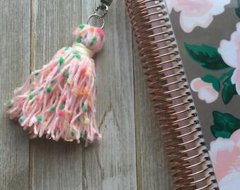 Pink Confetti Yarn Tassel