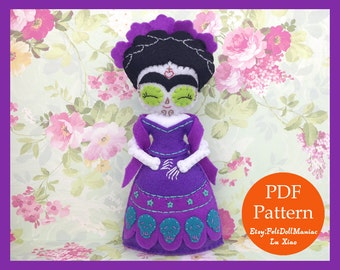 Frida of Day of the Dead Doll. Felt Doll. PDF Pattern and Tutorial. Halloween. Day of the Dead. Día de los muertos.
