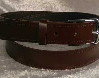 Brown leather belt with 30mm nickel buckle Made to Order