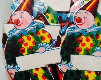 1950's Party Clown Basket w/ Place Cards, Unopened Set of 6, Party Holders Gift Bags Circus, Made in Japan