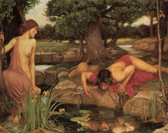 John William Waterhouse: Echo and Narcissus. Fine Art Print/Poster (00840)