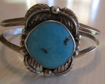 Navajo Sterling Silver and Turquoise Cuff Bracelet Signed F