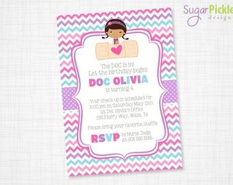 Doc McStuffins Invitation, Doc McStuffins Party Invitation, Doc McStuffins Birthday Invitation, Girl Birthday Invitation - PRINTABLE