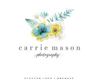 Custom Logo   Premade Mint and Gold Watercolor Flower Logo  Floral Business  Vintage Photography Wedding Logo  Start Up Branding Package