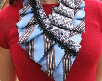 Trendy Ascot - Silk Ascot - Necktie Necklace - Refashioned Necktie - Pleated Ascot