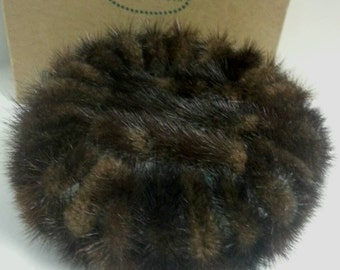 Vintage Saks 34th  Mink Pill Box Hat with Box