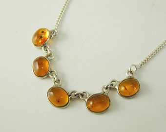 """Amber necklace sterling silver five stone line design 15 3/4"""" long 5.0 grams"""