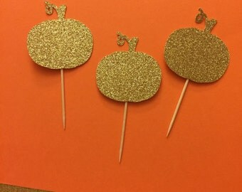 Pumpkin Cupcake Toppers/ fall cupcake toppers/ Fall Party Decorations