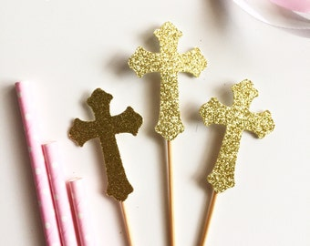 12 x Silver or Gold Glitter Baptism Christening Holy Communion Confirmation Cross Religious CupcakeToppers
