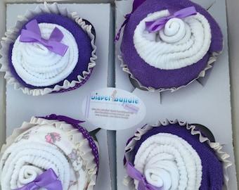 Diaper Cupcakes Set- Purple