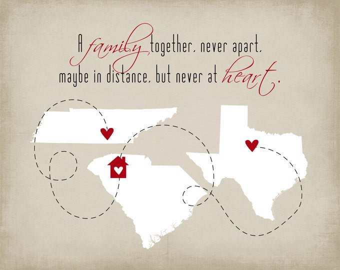 Gift for Her, Anniversary Gift - 8x10 Print, Home Decor, Three State Maps, Gift For Newlyweds Gift Idea Friend Wall Ar, tGift for Wife