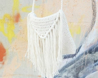 Bohemian Fringe Handbag Crochet Bag Boho Fringe Bag Cross body Purse for Beach Summer Festival