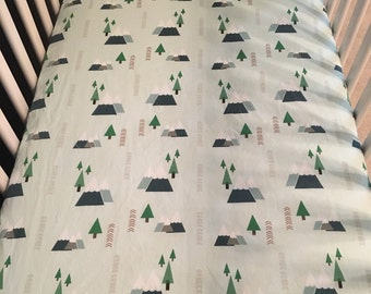 mountain forest fitted crib sheet//crib sheet//mountain forest baby bedding//mint crib sheet