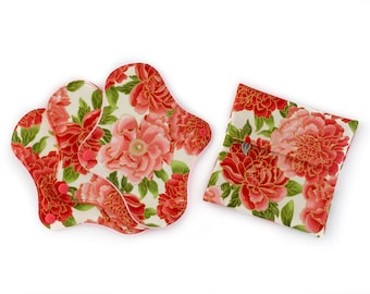 Floral Pads Set with a Wetbag
