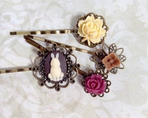 Briar Rabbit And Berry Floral Hair Clips