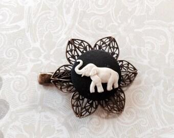 Ivory on Black Elephant Alligator Hair Clip