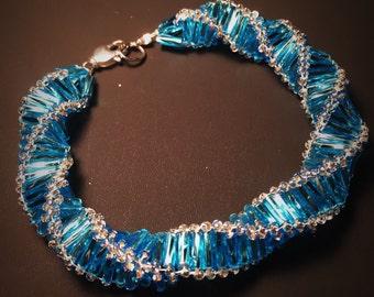 Bugle Bead Russian Spiral Turquoise Silver Bugle Bead Bracelet