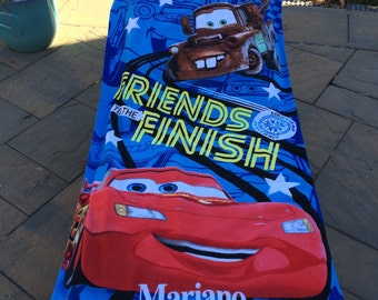 CARS McQueen and Mater Beach Towel and tote set Personalized Beach Towel
