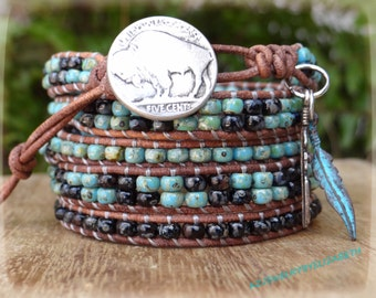 Beaded Wrap Bracelet/ Seed Bead Leather Wrap Bracelet/ Men's Leather Wrap Bracelet/ Southwestern Jewelry/ Native American Leather Bracelet.