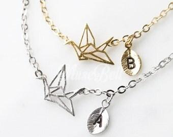 Origami crane bracelet, Personalized bracelet, Origami jewelry, Origami bracelet, Simple Jewelry, Simple bracelet, Dainty jewelry,