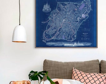 """Map of Moscow 1836, Old Moscow Map, Blue or Sepia, 3 sizes up to 30x24"""" (75x60 cm) Moscow, Russia vintage map - Limited Edition of 100"""