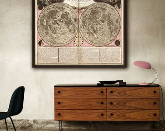 """Moon map 1708 Vintage map of the Moon in 4 sizes up to 45x36"""" (115x90 cm) Large historical lunar chart - Limited Edition - Print 2"""