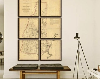 "New Hampshire map 1784, Large vintage NH state map, in 6 sizes up to 48x72"" in 1 or 6 prints, also in blue - Limited Edition of 100"