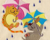 Raining Cats and Dogs Embroidered Flour Sack Hand/Dish Towel