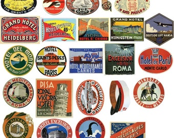 Vintage Hotel Luggage Label Stickers - Pack of 24 Suitcase PVC Travel Decals