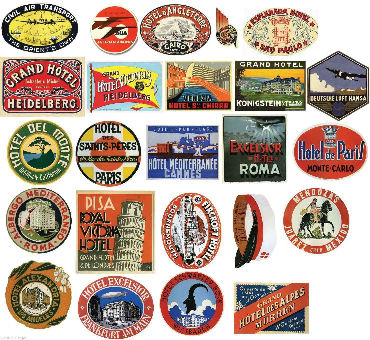 Vintage Hotel Luggage Label Stickers Pack Of 24 Suitcase Pvc