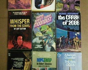 Lot of 9 Vintage 1960s and 1970s Sci Fi Books