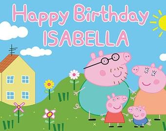 Peppa Pig Birthday Banner - family