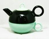 Mid Century Teapot & Tea Cup Set - 50s 60s Nesting Trio with Pot and Ring Handle Teacup - Aqua Blue Black Ceramic - Modernist - MCM -2042054