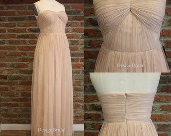 Convertible Bridesmaid Dress,Blush Bridesmaid Dress,Infinity Wrap Dress Long,Multi Way Formal Dress,Maxi Dress for Bridesmaid Tulle 18% OFF